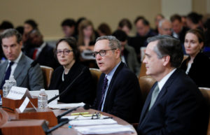 Michael Gerhardt, professor of law at University of North Carolina School of Law, testifies as he sits among fellow witnesses Noah Feldman, professor of law at Harvard University Law School, Pamela Karlan, co-director of the Supreme Court Litigation Clinic at Stanford University Law School and Jonathan Turley, professor of law at George Washington University Law School, during the first House Judiciary Committee hearing on the impeachment inquiry into U.S. President Donald Trump on Capitol Hill in Washington, U.S., December 4, 2019. REUTERS/Mike Segar