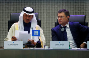 Saudi Arabia's Minister of Energy Prince Abdulaziz bin Salman Al-Saud and Russia's Energy Minister Alexander Novak are seen at the beginning of an OPEC and NON-OPEC meeting in Vienna, Austria December 6, 2019. Photo by Leonhard Foeger/Reuters