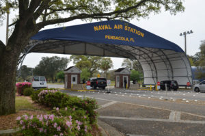 The main gate at Naval Air Station Pensacola is seen on Navy Boulevard in Pensacola, Florida, U.S. March 16, 2016. Picture taken March 16, 2016. U.S. Navy/Patrick Nichols/Handout via Reuters