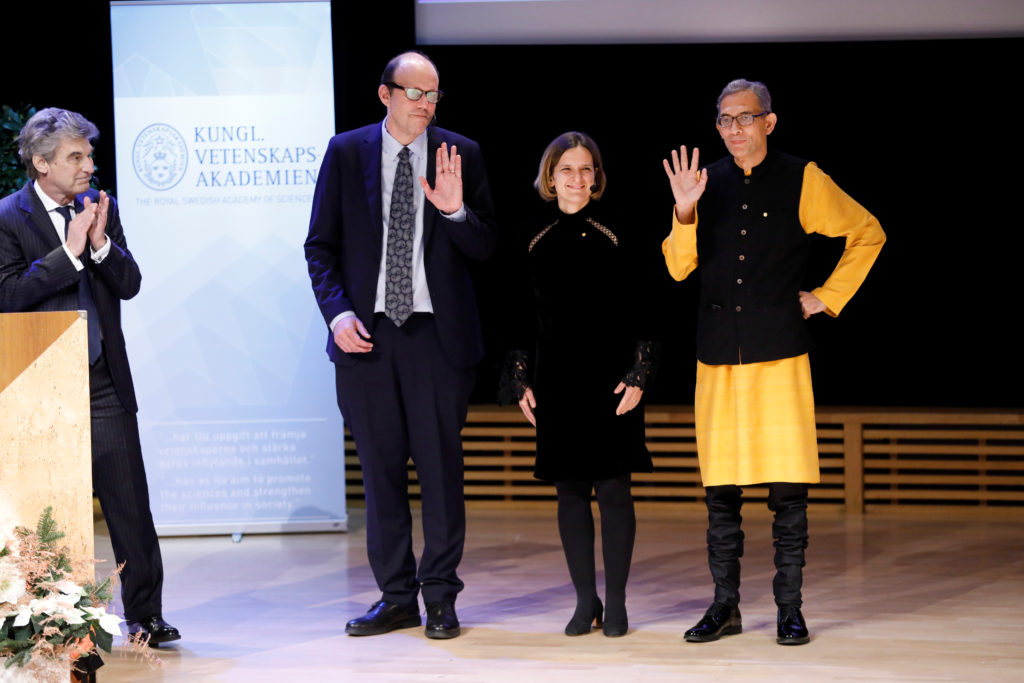 Michael Kremer, Esther Duflo and Abhijit Banerjee, Economic Sciences Laureates, The Sveriges Riksbank Prize in Economic Sciences in Memory of Alfred Nobel react after their Nobel lectures at Stockholm University in Stockholm, Sweden December 8, 2019. Photo by TT News Agency/Christine Olsson via Reuters