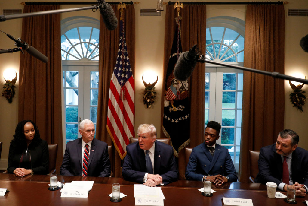 U.S. President Donald Trump delivers remarks during a meeting on education inside the Cabinet Room of the White House in Washington, U.S., December 9, 2019. Photo by Tom Brenner/Reuters