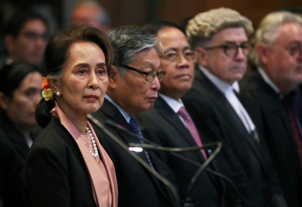 Myanmar's leader Aung San Suu Kyi attends a hearing in a case filed by Gambia against Myanmar alleging genocide against th...