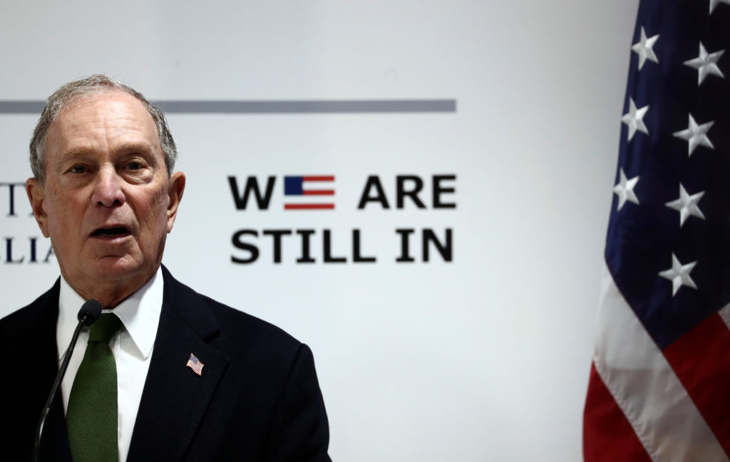 U.S. presidential hopeful Michael Bloomberg speaks during a panel at the U.N. Climate Change Conference (COP25) in Madrid,...