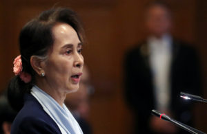 Myanmar's leader Aung San Suu Kyi speaks on the second day of hearings in a case filed by Gambia against Myanmar alleging genocide against the minority Muslim Rohingya population, at the International Court of Justice (ICJ) in The Hague, Netherlands December 11, 2019. Photo by Yves Herman/Reuters