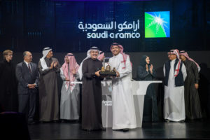 Amin H. Nasser, President and CEO of Aramco, attends the official ceremony marking the debut of Saudi Aramco's initial public offering (IPO) on the Riyadh's stock market, in Riyadh, Saudi Arabia, December 11, 2019. Photo courtesy: Saudi Aramco Website/Handout via Reuters