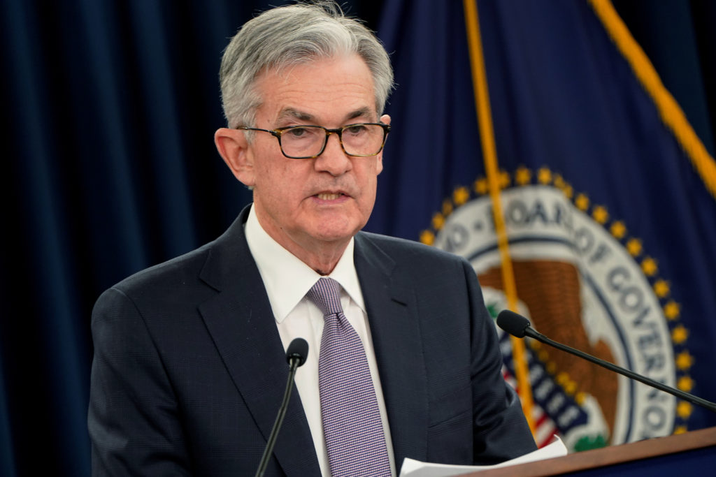 Federal Reserve Chair Jerome Powell holds a news conference following the Federal Open Market Committee meeting in Washing...