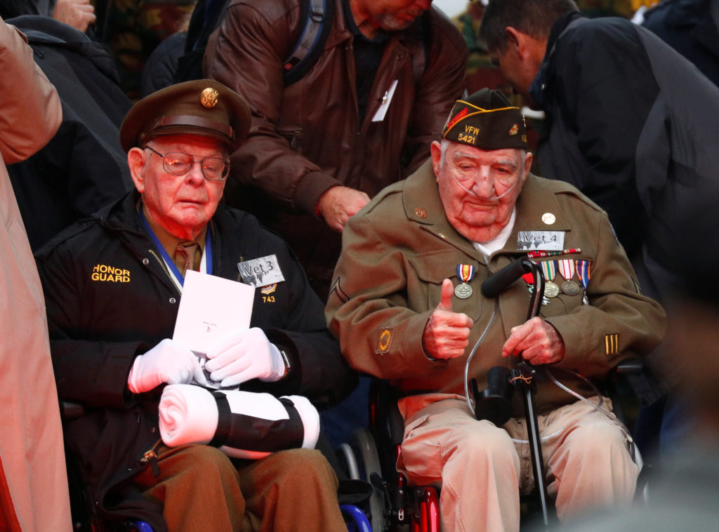 U.S. veterans attend a commemoration ceremony for the 75th anniversary of the Battle of the Bulge at the Mardasson World War II memorial monument in Bastogne, Belgium December 16, 2019. Photo by Francois Lenoir/Reuters