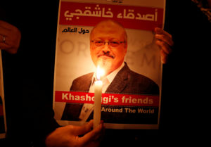 FILE PHOTO: A demonstrator holds a poster with a picture of Saudi journalist Jamal Khashoggi outside the Saudi Arabia consulate in Istanbul, Turkey October 25, 2018. REUTERS/Osman Orsal/File PhotoFILE PHOTO: A demonstrator holds a poster with a picture of Saudi journalist Jamal Khashoggi outside the Saudi Arabia consulate in Istanbul, Turkey October 25, 2018. REUTERS/Osman Orsal/File Photo