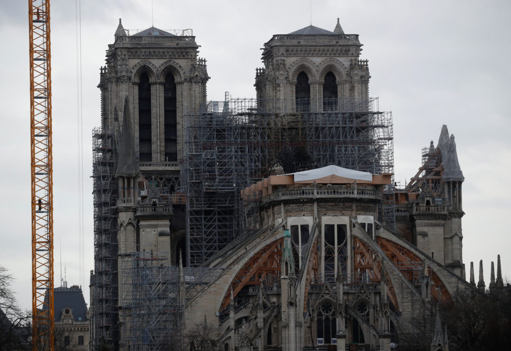 General view shows the Notre Dame Cathedral, as works continue to stabilise the cathedral's structure nine months after a fire caused significant damage, in Paris, France, December 23, 2019. Photo by Gonzalo Fuentes/Reuters