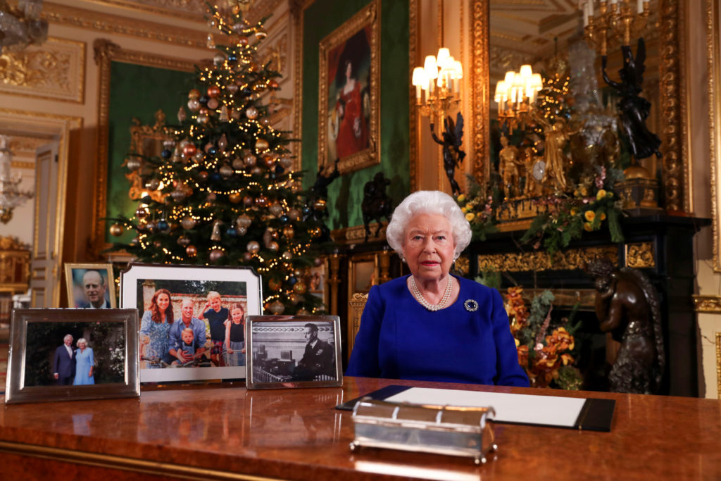Britain's Queen Elizabeth poses, after recording her annual Christmas Day message in Windsor Castle, in Berkshire, Britain...