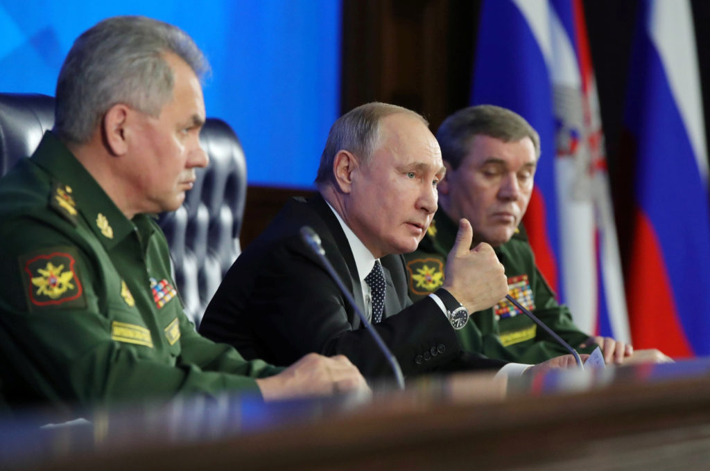 Russian President VladimirPutin speaks during a meeting of the Defence Ministry Board in Moscow, Russia December 24, 2019...