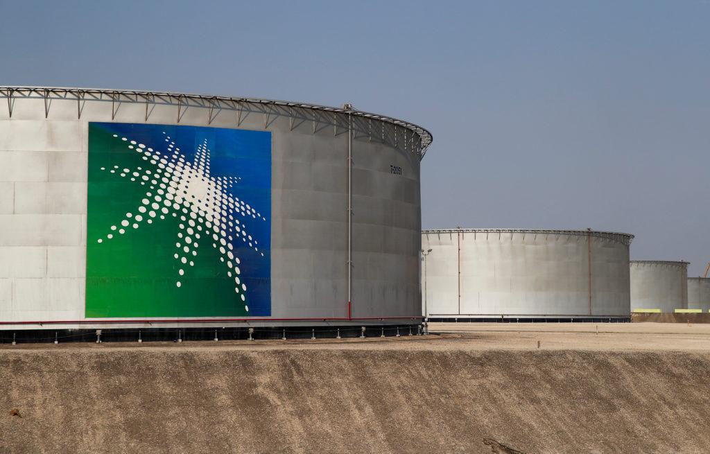 A view shows branded oil tanks at Saudi Aramco oil facility in Abqaiq, Saudi Arabia October 12, 2019. Photo by REUTERS/Maxim Shemetov/File Photo