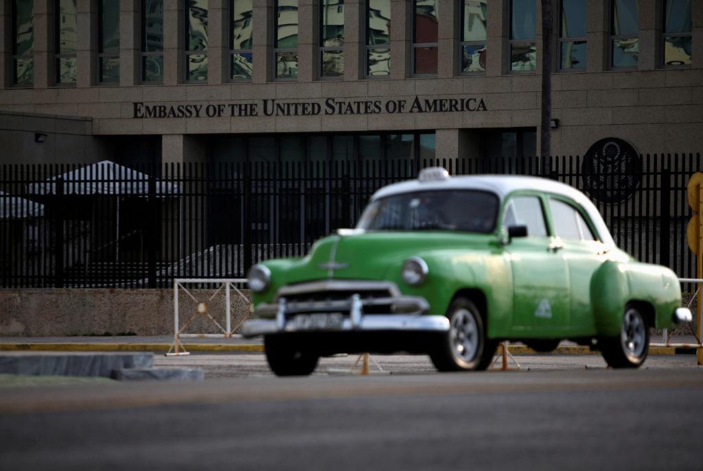A vintage car drives past the U.S. embassy, in Havana, Cuba July 23, 2019. Photo by REUTERS/Fernando Medina/File Photo
