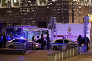 An ambulance is seen on the site of a shooting incident near the Federal Security Service (FSB) building in Moscow, Russia December 19, 2019. Photo by REUTERS/Shamil Zhumatov