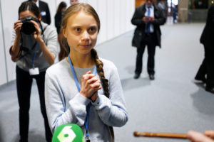 Climate change activist Greta Thunberg speaks to media during COP25 climate summit in Madrid, Spain, December 9, 2019. Photo by REUTERS/Juan Medina