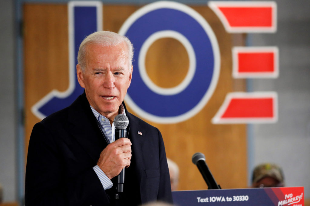 Democratic 2020 U.S. presidential candidate and former U.S. Vice President Joe Biden speaks during a meeting at Chickasaw ...