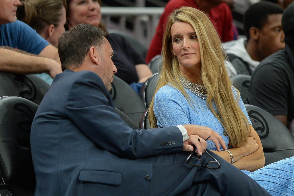 Atlanta owner Kelly Loeffler (right) talks with Atlanta Dream General Manager Chris Sienko (left) during the WNBA game between the Las Vegas Aces and the Atlanta Dream on September 5th, 2019 at State Farm Arena in Atlanta, GA. Loeffler is the co-owner of the Atlanta Dream professional woman's basketball franchise and CEO of financial services company Bakkt. Photo by Rich von Biberstein/Icon Sportswire via Getty Images