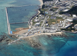 The relocation site for U.S. Marine Corps Air Station Futenma where land reclamation work continues is seen in the Henoko coastal district in Nago, Okinawa Prefecture, Japan, in this photo taken by Kyodo February 23, 2019. Picture taken February 23, 2019. Photo by Kyodo/via REUTERS