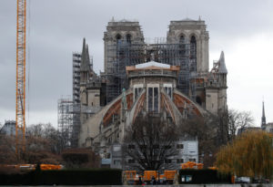 General view shows the Notre Dame Cathedral, as works continue to s…