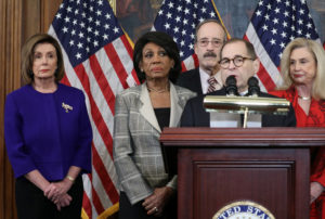 House Judiciary Chairman Jerrold Nadler (D-NY) speaks about the next steps in the impeachment of President Donald Trump as he stands with Speaker of the House Nancy Pelosi (D-NY), House Financial Services Chairwoman Maxine Waters (D-CA); House Foreign Affairs Chairman Eliot Engel (D-NY) and House Oversight and Reform Chairwoman Carolyn Maloney (D-NY) as well as other House committee chairs at a news conference to announce articles of impeachment against the president on Capitol Hill in Washington, U.S., December 10, 2019. REUTERS/Jonathan Ernst - RC2FSD97923Q
