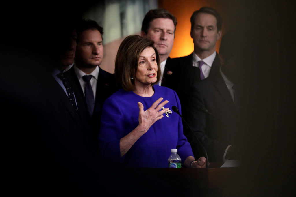 U.S. House Speaker Nancy Pelosi (D-CA) speaks during a news conference on the USMCA trade agreement on Capitol Hill in Washington, U.S., December 10, 2019. REUTERS/Yuri Gripas - RC2FSD940VM4