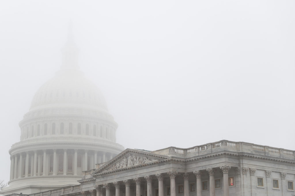 Heavy fog sits over the U.S. Capitol Rotunda ahead of a House Rules Committee hearing on the impeachment of U.S. President...