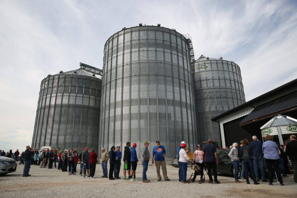 Supporters and event-goers line up prior to U.S. Vice President Mike Pence's remarks on the United States–Mexico–Canada Agreement (USMCA) at Manning Farms in Waukee, Iowa, U.S., October 9, 2019. Photo by REUTERS/Brenna Norman