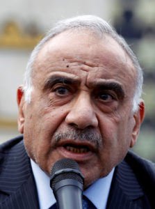 Iraqi Prime Minister Adel Abdul-Mahdi speaking in Baghdad on October 23, 2019. File photo by Khalid al-Mousily/Reuters