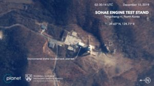 This Dec. 15, 2019, satellite image from Planet Lab Inc., that has been analyzed by experts at the Middlebury Institute of International Studies, shows the Sohae Engine Test Stand in Tongchang-ri, North Korea. This new satellite image on a North Korean missile-related site shows the construction of a new structure this month. Photo courtesy: Planet Labs Inc, Middlebury Institute of International Studies