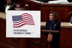 House Speaker Nancy Pelosi (D-CA) speaks ahead of a vote on two articles of impeachment against U.S. President Donald Trump on Capitol Hill in Washington, U.S., in a still image from video December 18, 2019. House TV via REUTERS. THIS IMAGE HAS BEEN SUPPLIED BY A THIRD PARTY.