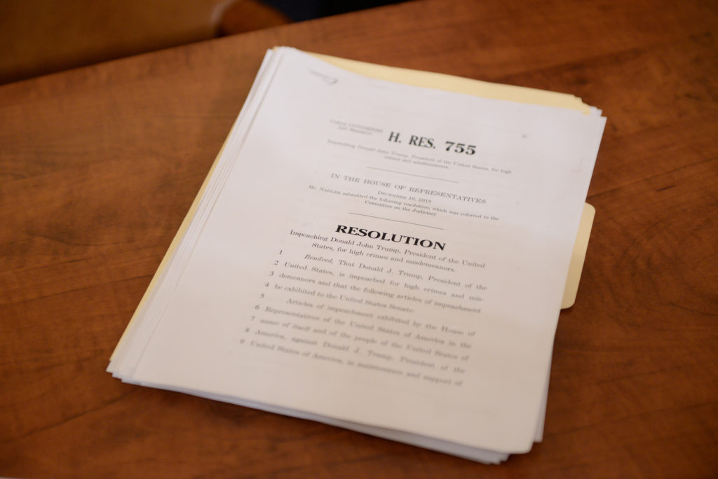The articles of impeachment against U.S. President Donald Trump lie on the clerk's desk after the House Judiciary Committee voted to approve two articles of impeachment and send them on to the full House of Representatives for consideration on Capitol Hill in Washington, U.S., December 13, 2019. Photo by Erin Scott/Reuters