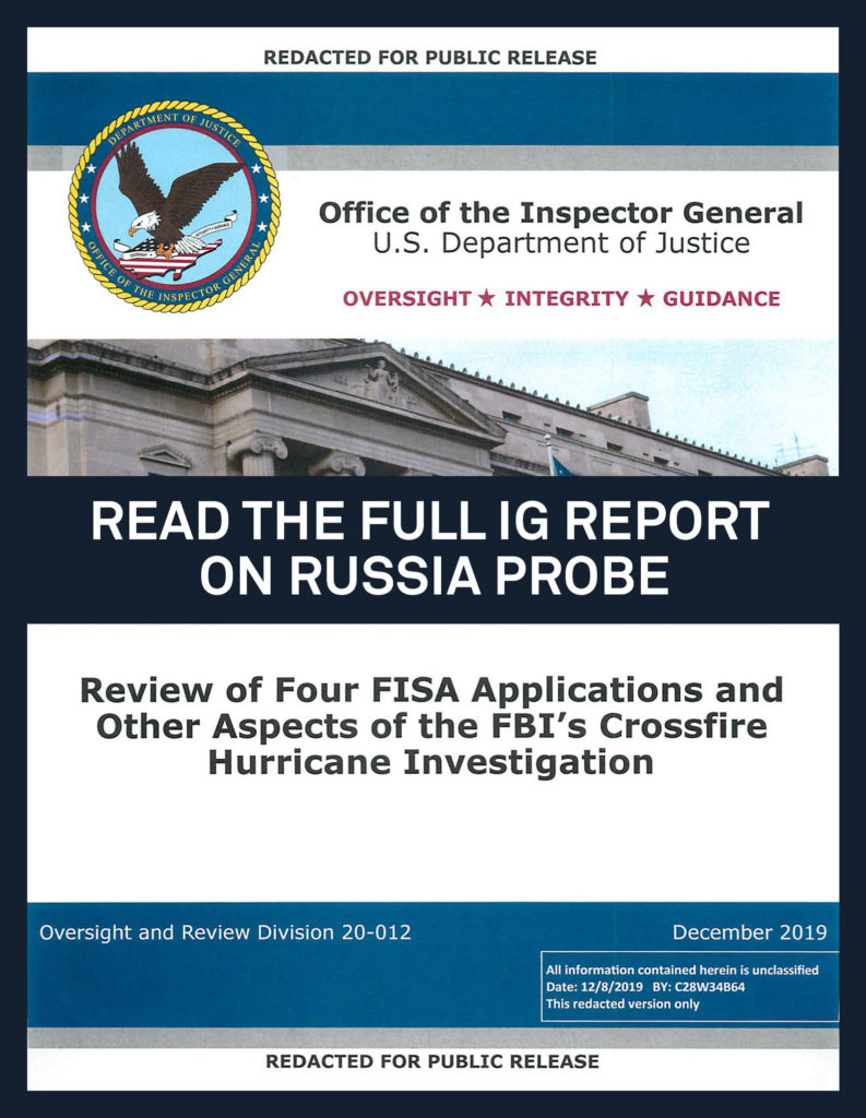 Department of Justice OIG Releases Review of Four FISA Applications and Other Aspects of the FBI's Crossfire Hurricane Investigation