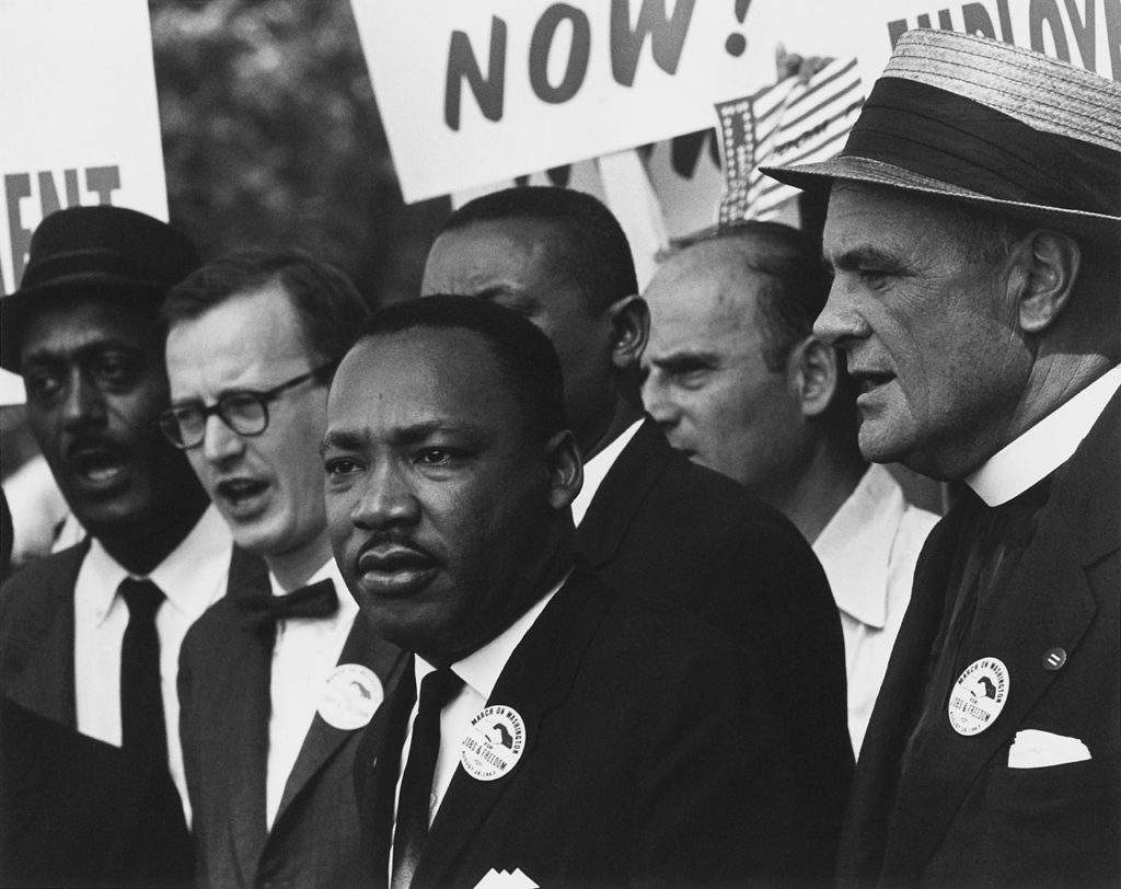 Martin Luther King Jr. during the Civil Rights March on Washington, D.C. on 	 August 28, 1963. Photo courtesy: National Archives via Wikimedia Commons