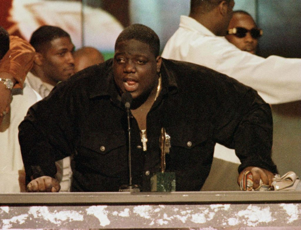 U.S. rap singer Notorious B.I.G. is shown on stage at the 1996 Soul Train Music Awards in Los Angeles in this file photograph. The rap star was shot to death in a drive-by shooting in Los Angeles March 9, 1997. A federal judge on July 6, 2005 declared a mistrial in the wrongful death lawsuit against the city of Los Angeles, filed by the family of Notorius B.I.G. which began in federal court June 21, 2005 in Los Angeles. REUTERS/Fred Prouser/Files  FSP/KS