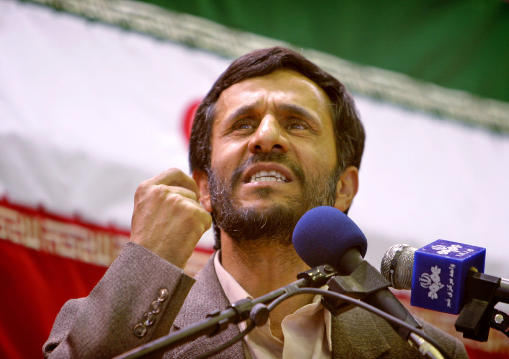 Tehran's Mayor Mahmoud Ahmadinejad, who was approved to stand in the June presidential election by Iran's Guardians Council, the country's election watchdog, speaks during an election campaign in south of Tehran May 27, 2005. Campaigning for June 17 presidential election started on Friday in Iran. Photo by Morteza Nikoubazl   MN/TZ via Reuters