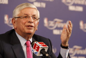 NBA Commissioner David Stern holds a news conference before Game 1 of the NBA Finals basketball playoff in Miami, Florida June 6, 2013. Phoot by Andrew Innerarity/Reuters