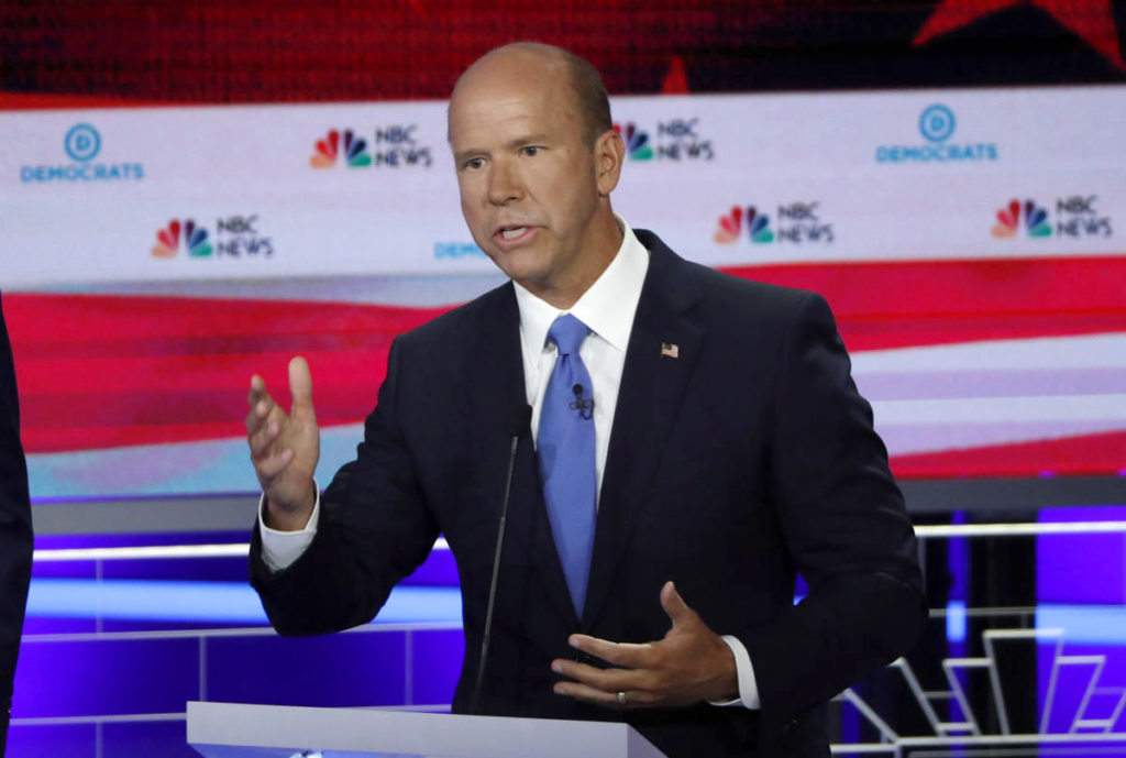 Former U.S. Rep. John Delaney speaks during the first U.S. 2020 presidential election Democratic candidates debate in Miam...