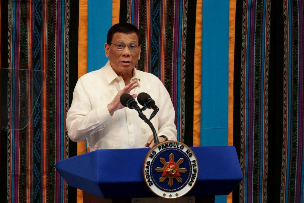 Philippine President Rodrigo Duterte gestures during his fourth Sta…