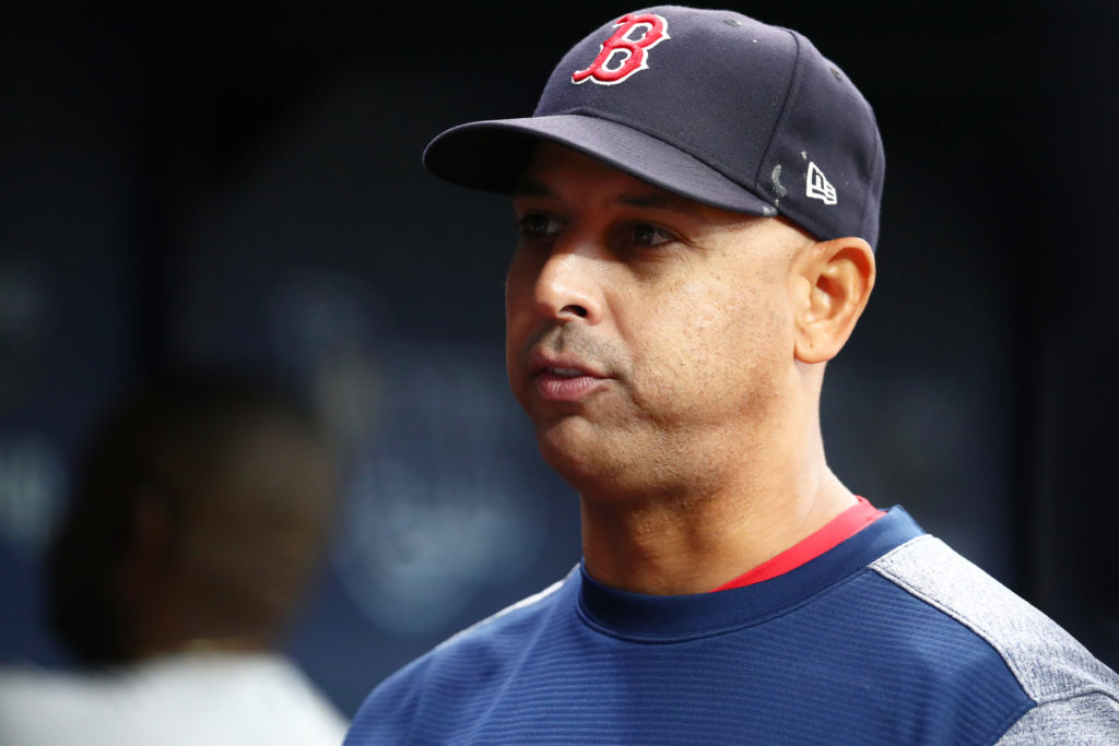 Boston Red Sox manager Alex Cora at Tropicana Field. Credit: Kim Klement-USA TODAY Sports
