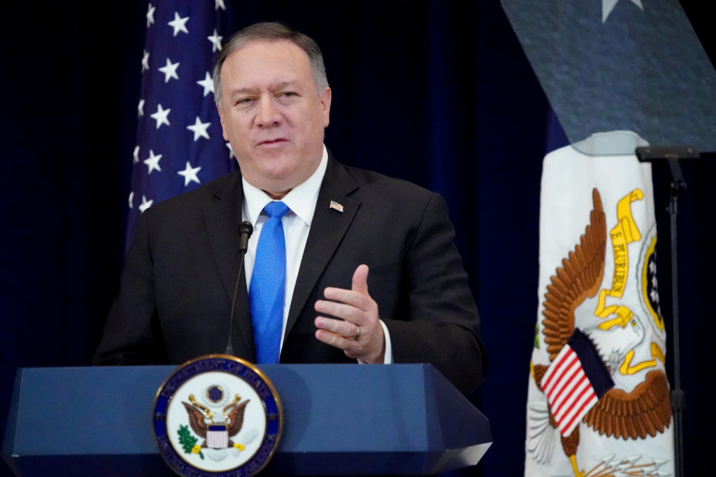 FILE PHOTO: U.S. Secretary of State Mike Pompeo delivers remarks on…