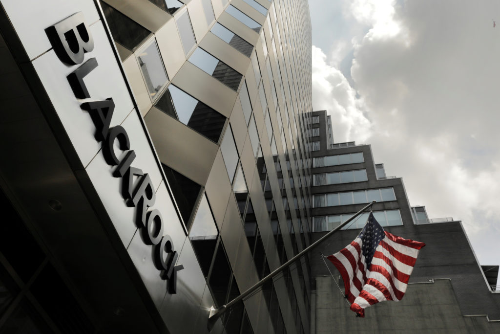 FILE PHOTO: A sign for BlackRock Inc hangs above their building in New York U.S., July 16, 2018. Photo by Lucas Jackson/Re...
