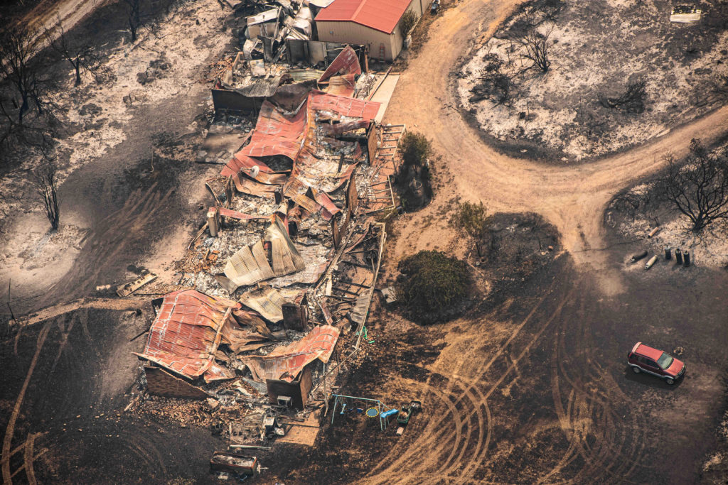 Property damaged by the East Gippsland fires in Sarsfield, Victoria, Australia January 1, 2020. AAP Image/News Corp Pool, ...