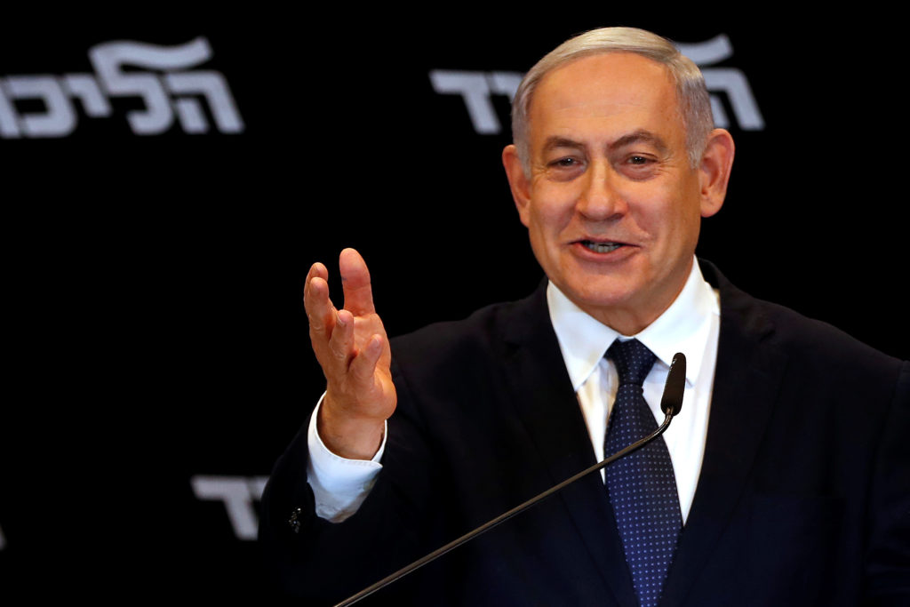 Israeli Prime minister Benjamin Netanyahu delivers a statment to the media in Jerusalem Junuary 1, 2020 Photo by Ronen Zvu...