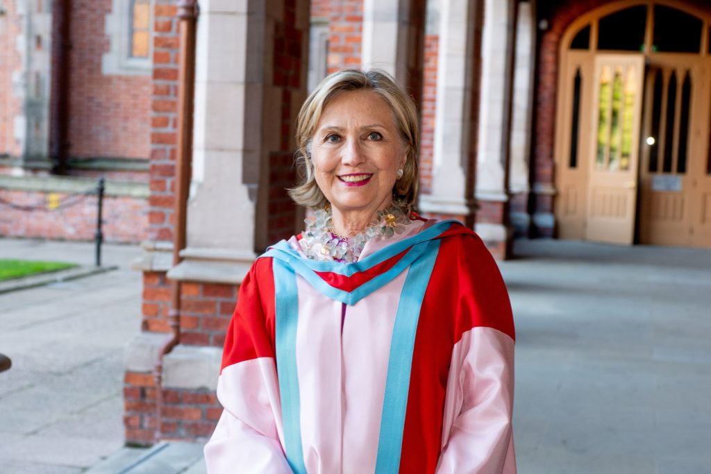 Former U.S. Secretary of State Hillary Clinton is seen at her honorary graduation ceremony at Queen's University Belfast, Northern Ireland October, 10 2018. in this picture obtained by Reuters on January 2, 2020. QUEEN'S UNIVERSITY BELFAST/Handout via REUTERS