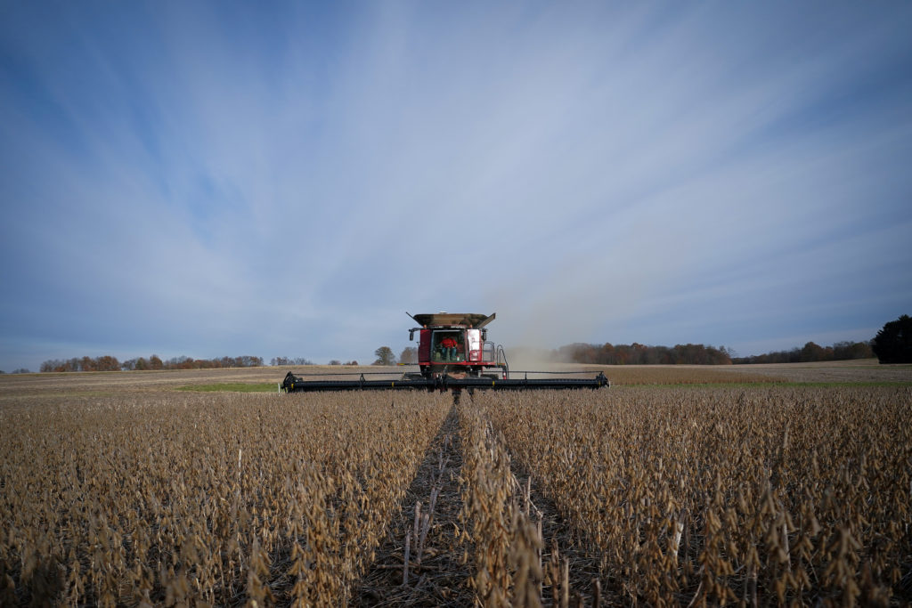 FILE PHOTO: Soybeans are harvested from a field on Hodgen Farm in Roachdale, Indiana, U.S., November 8, 2019. Picture taken November 8, 2019. Photo by Bryan Woolston/Reuters