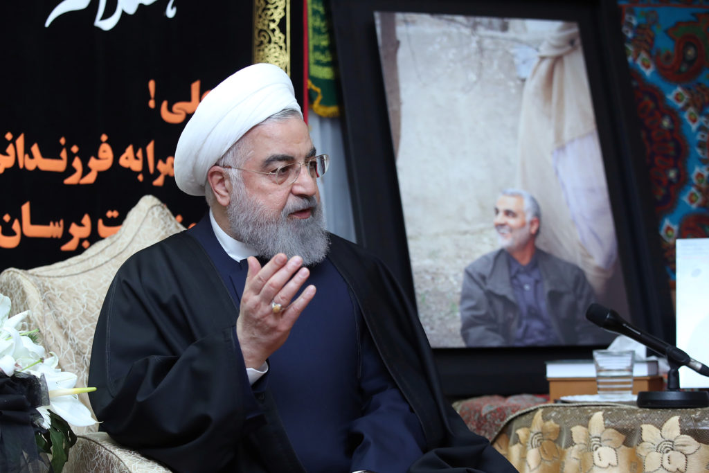 Iranian President Hassan Rouhani visits the family of the Iranian M…