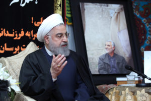 Iranian President Hassan Rouhani visits the family of the Iranian Major-General Qassem Soleimani, head of the elite Quds Force, who was killed by an air strike in Baghdad, at his home in Tehran, Iran January 4, 2020. Official President Website/Handout via Reuters