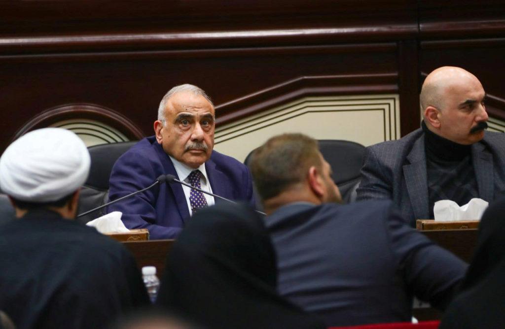 Iraqi Prime Minister Adel Abdul Mahdi attends an Iraqi parliament session in Baghdad, Iraq January 5, 2020. Iraqi Prime Mi...