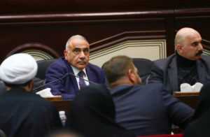 Iraqi Prime Minister Adel Abdul Mahdi attends an Iraqi parliament session in Baghdad, Iraq January 5, 2020. Iraqi Prime Minister Media Office/Handout via Reuters