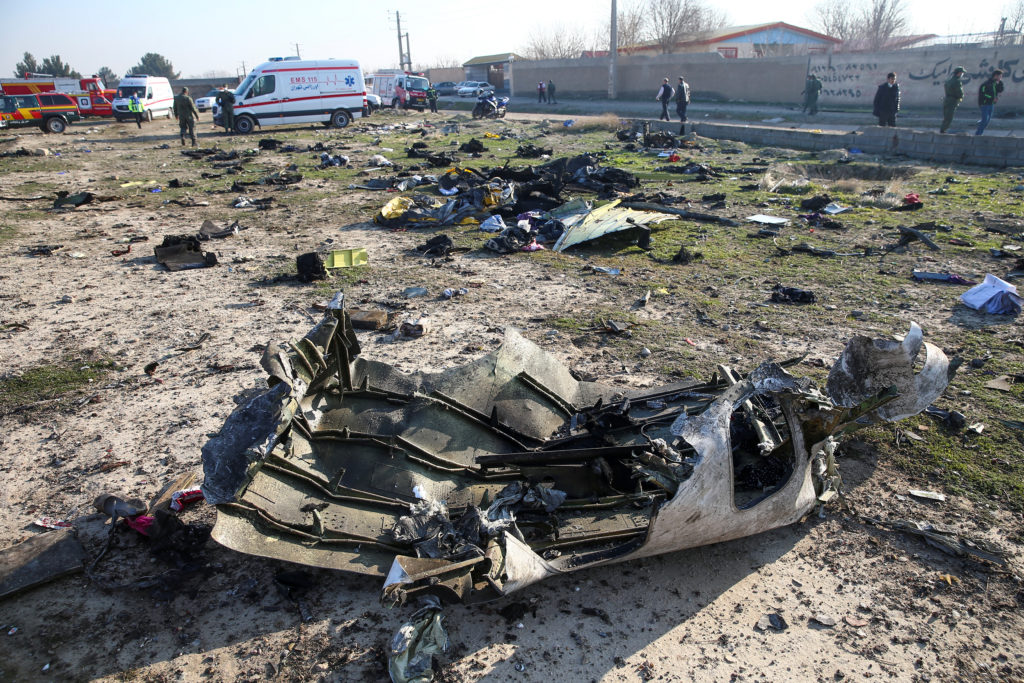 Debris of a plane belonging to Ukraine International Airlines, that…